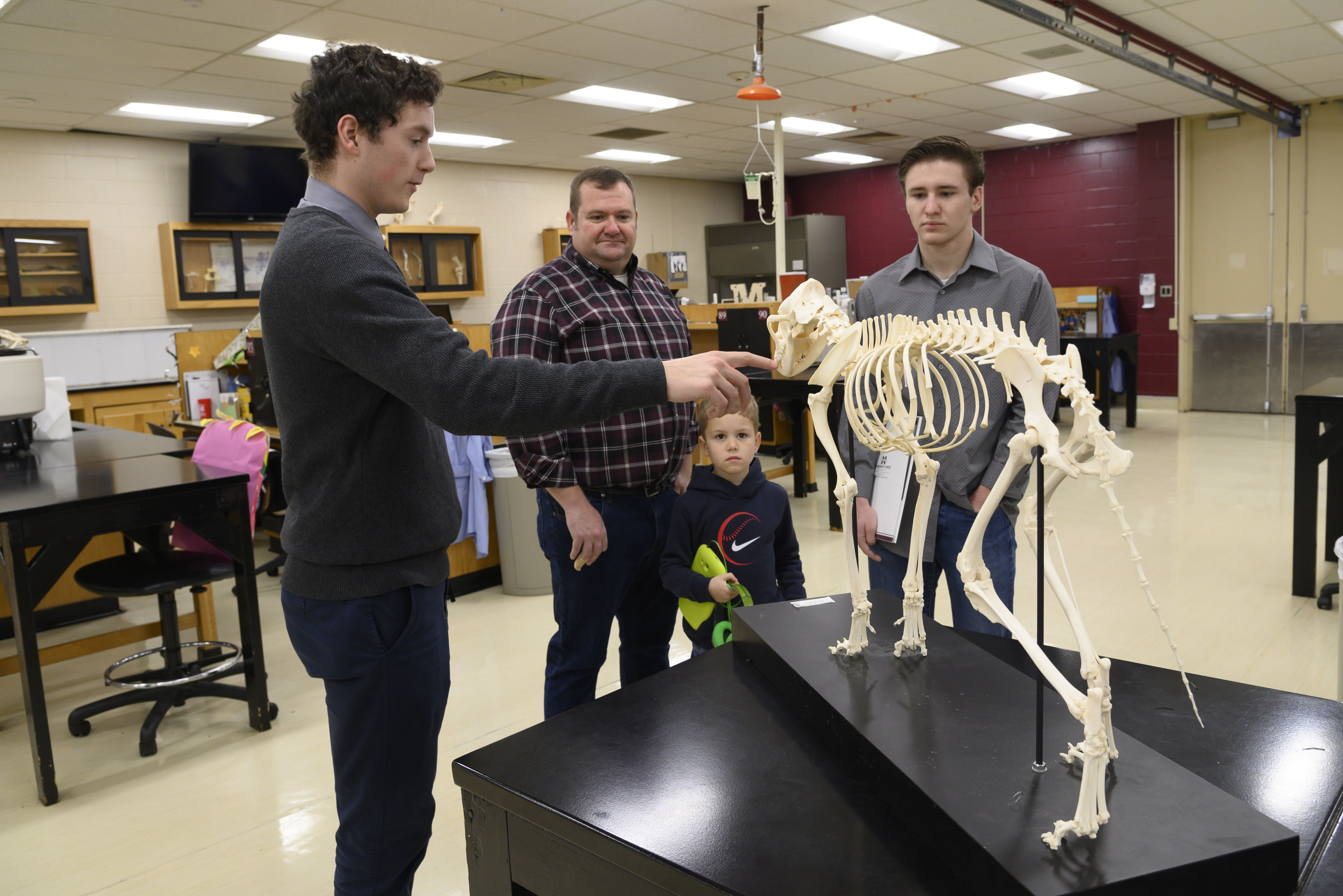 A prospective student and father look at a horse skeleton model