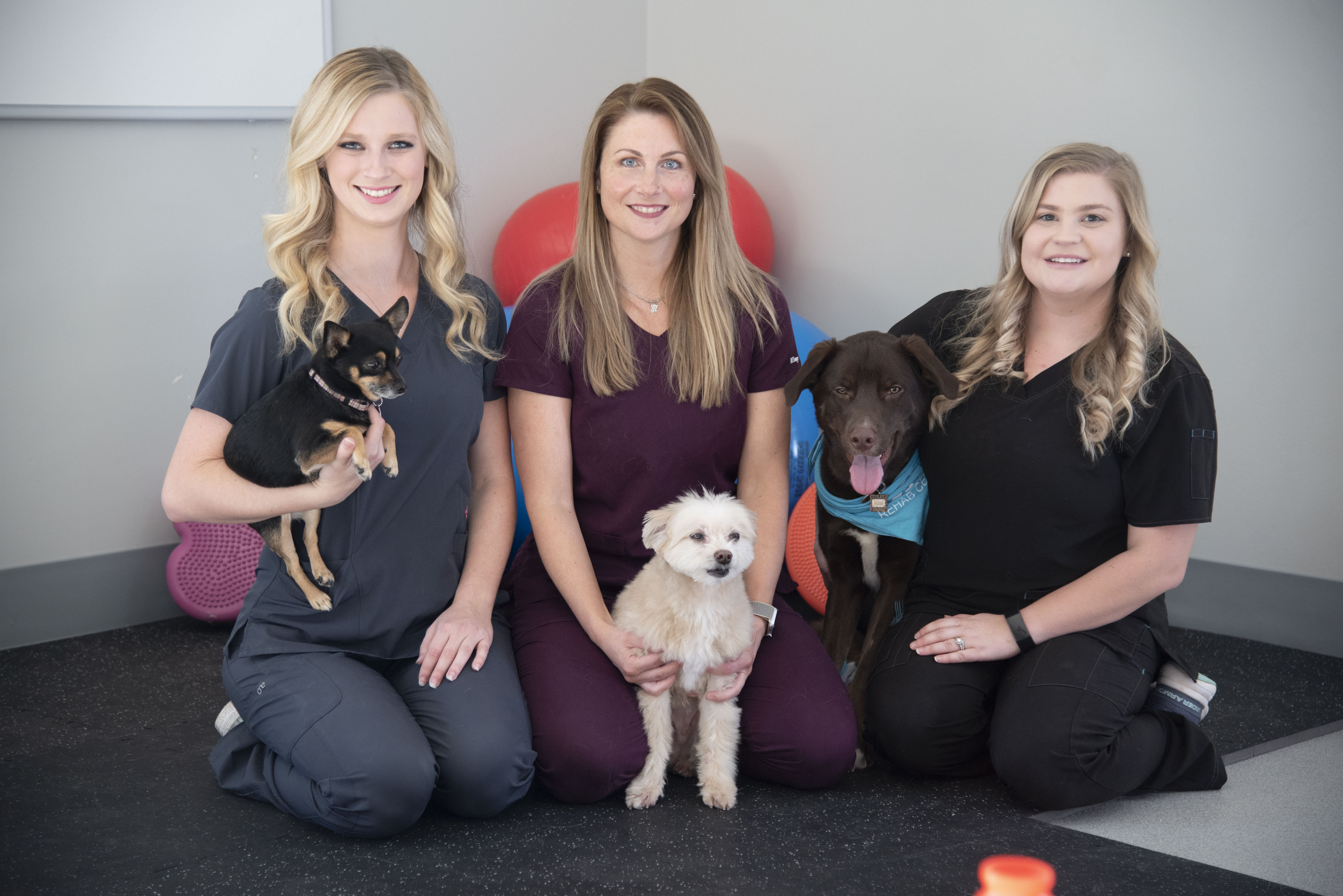 The AERC Rehab Team poses with their dogs